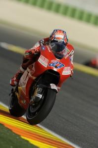 Casey Stoner on his Ducati at Valencia
