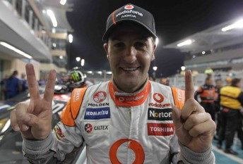 Jamie Whincup celebrates his second win at the Yas Mrina Circuit last weekend