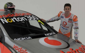 Jamie Whincup with his #1 TeamVodafone Holden Commodore VE