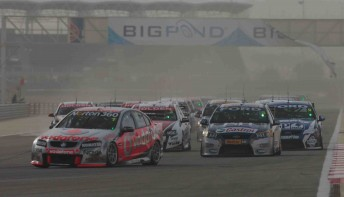 The start of Race 3 at Bahrain (note the Bigpond sign didn't make it through the first lap unscathed!)