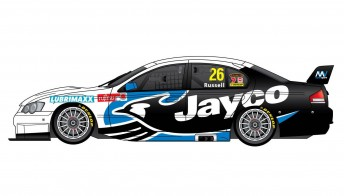 The #28 Jayco Caravans Ford Falcon BF, to be driven by David Russell this year in the Fujitsu V8 Series