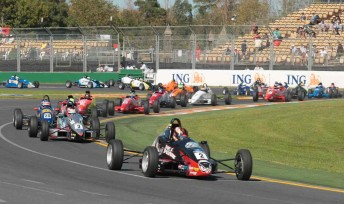 Nick Percat leads last year's Formula Ford field at the Australian Grand Prix