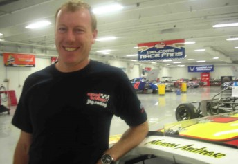 Paul Forgie at the Woods Brothers workshop during his stint with Marcos Ambrose in NASCAR