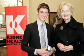 Matthew Brabham with the Governor-General of Australia and Kidney Health Australia's Patron in Chief, Ms. Quentin Bryce AC