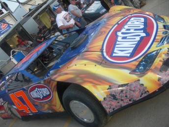 The Kingsford-backed Late Model that Ambrose raced in last year's Prelude to the Dream at Eldora Speedway