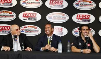 Bruton Smith, Randy Bernard and Dario Franchitti speak at the New Hampshire announcement