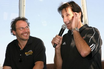 Jacques Villeneuve, left, will join fellow Canadian Ron Fellows in the NASCAR Nationwide Series road course events at Elkhart Lake and Montreal