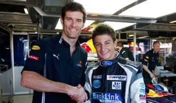 Mark Webber with his protege Mitch Evans