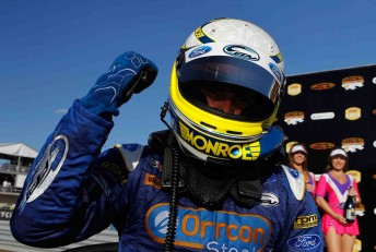 Mark Winterbottom celebrates his race victory at Hidden Valley recently
