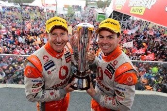 Mark Skaife and Craig Lowndes with the Peter Brock Trophy