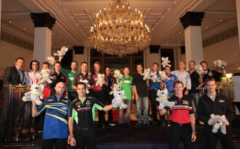 The international drivers (and Mark Skaife, far left) at the official welcome party on Tuesday evening