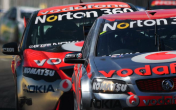 Jamie Whincup in his Ford Falcon and Holden Commodore (Digitally modified)