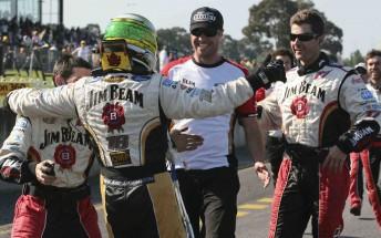 James Courtney celebrates with the Jim Beam Racing crew at Sandown