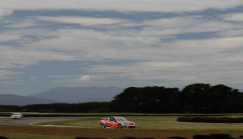Craig Lowndes leads Garth Tander around the Symmons Plains circuit