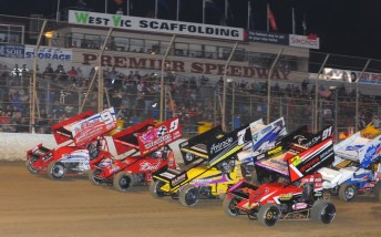 Four-wide racing at the front of the pack