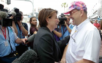 Queensland premier Anna Bligh with V8 Supercars Chairman Tony Cochrane at last year's Gold Coast 600