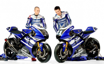Lorenzo (left) and Spies with their new bikes