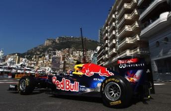 Mark Webber on the Monaco streets