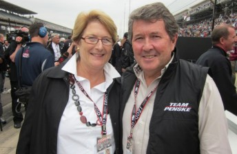Ryan Briscoe's parents Geoff and Marianne, cheered the Penske crew on from pit lane