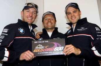 From left: Hand, Priaulx and Muller will turn from team-mates to rivals on the Gold Coast