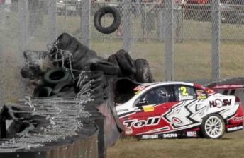 Garth Tander hit the tyre wall hard at Sandown last year