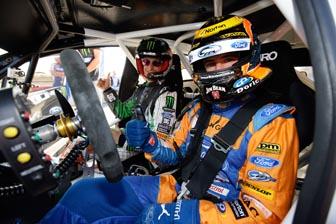 Will Davison inside Ken Block's famous Monster Energy Ford Fiesta