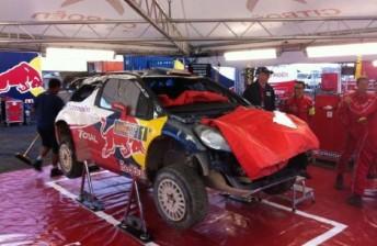 Loeb's car back at service. pic: Luke Elvy, via Twitter