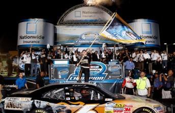 Ricky Stenhouse Jr celebrates his Nationwide Series success
