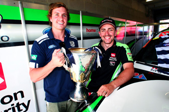 Geelong Cats player Mitch Duncan with V8 Supercars driver Tony D'Alberto