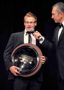 Jack Perkins accepts his Privateer's Award at the Gala Dinner