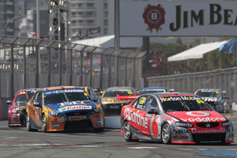 The #88 TeamVodafone Commodore leads the field at last year's Armor All Gold Coast 600