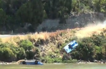 George Miedecke's Capri crashes into the Huon River during Targa Wrest Point