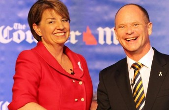 Despite being political foes, Anna Bligh and Campbell Newman see eye-to-eye on an IndyCar return to the Gold Coast (Pic: The Courier-Mail)