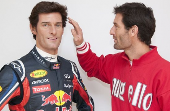 Mark Webber and his Madame Tussauds double