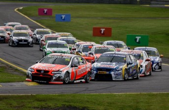Jamie Whincup leads the field at Sandown's sprint event last year