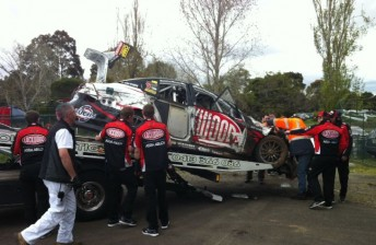 The #14 Holden was returned to the scrutineering area after its shunt