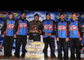 Donny Schatz and his STP/TSR team after being presented with the WoO Champion's trophy