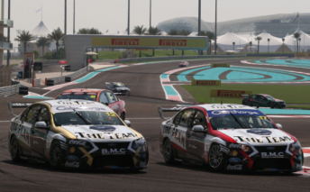 The #12 and #17 Fords of Dean Fiore and Steve Johnson at Abu Dhabi