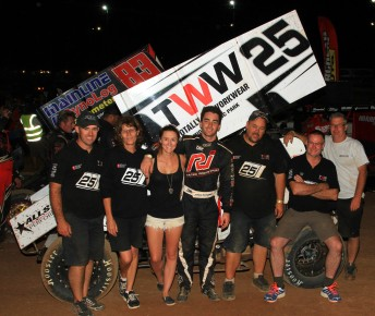 James McFadden and his crew celebrate his second Australian Sprintcar Title (PIC: Ben Graham/zoomxtreme.com)