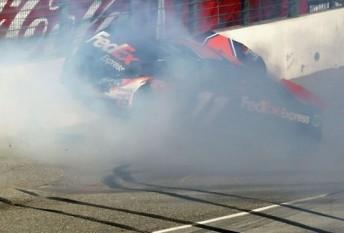 Denny Hamlin slams into the wall at Fontana