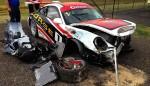 Muston's Porsche sustained heavy damage