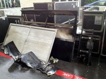 Fire and water damaged equipment in Austin