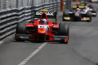 Mitch Evans on his way to third in the GP2 Feature race in Monaco. Pic: GP2 Series Media