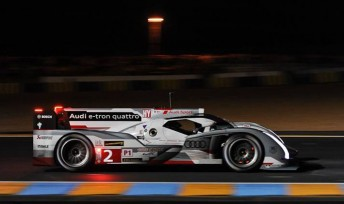 The #2 Audi leads a trio of the German machines on the Le Mans grid