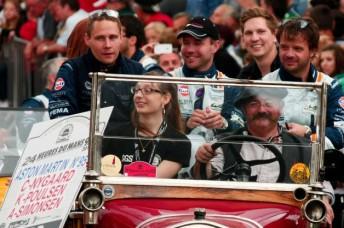 Allan Simonsen (left) during the Le Mans parade this week
