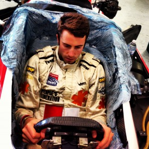 James Davison undertakes a seat fitting with Dale Coyne