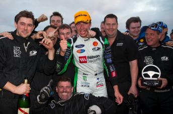 Chaz Mostert celebrates with the DJR crew