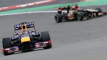 Sebastian Vettel held the Lotus team to take victory in Germany