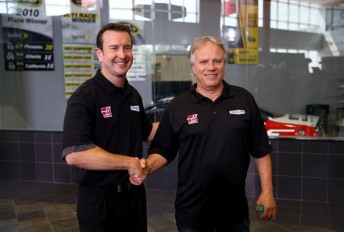 Kurt Busch and Gene Haas announce the deal for 2014