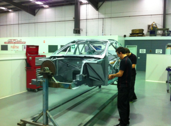 The first Volvo V8 Supercar under construction